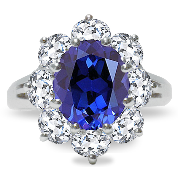 Olivia 1.5 Carat Oval with Ovals Cubic Zirconia Halo Cluster Ring