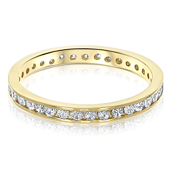 Kylie Channel Set Round CZ Eternity Stacking Band