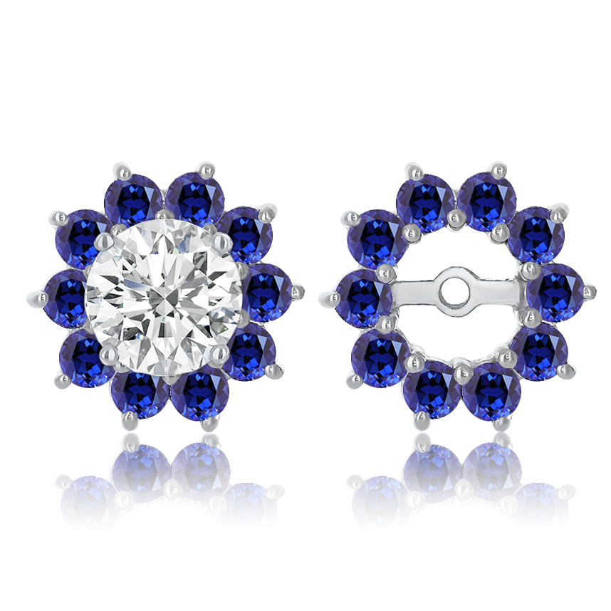 Elizabeth Halo Earring Jackets with Color Stones