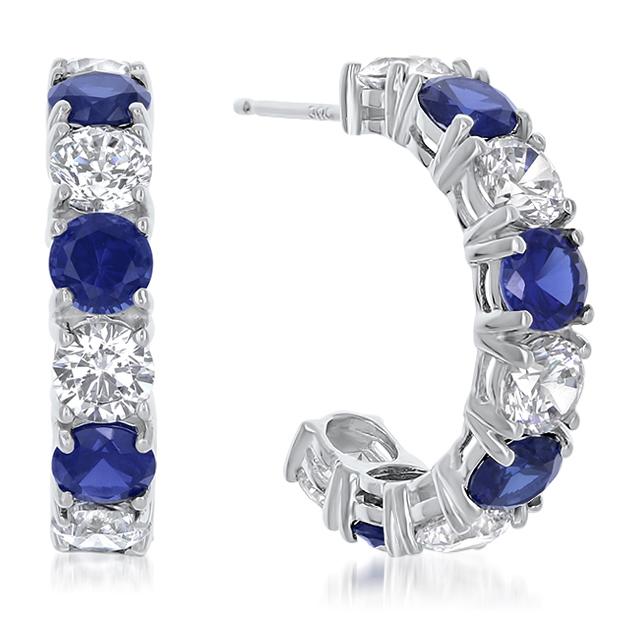 Sarah Large Prong Set Round CZ with Colors Hoop Earrings
