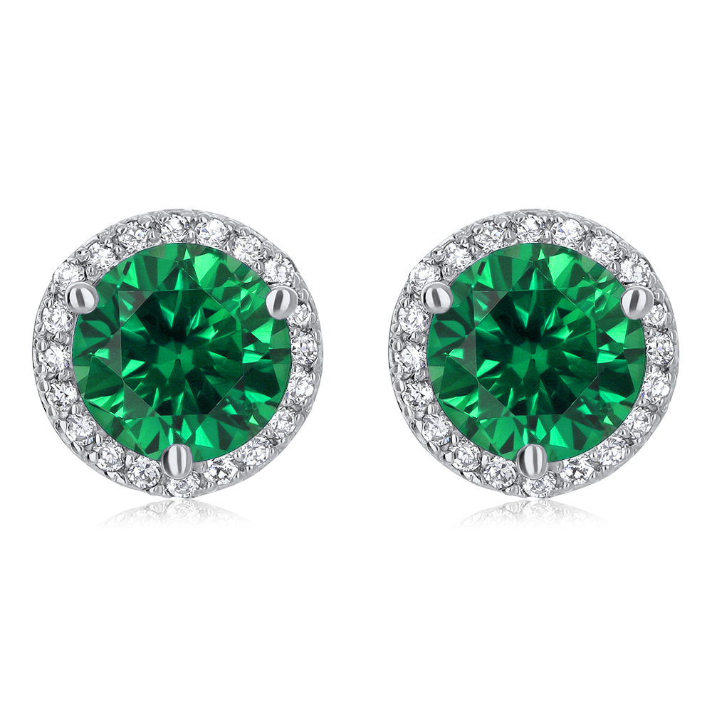 Margarita Halo Round Simulated Green Emerald CZ Stud Earrings