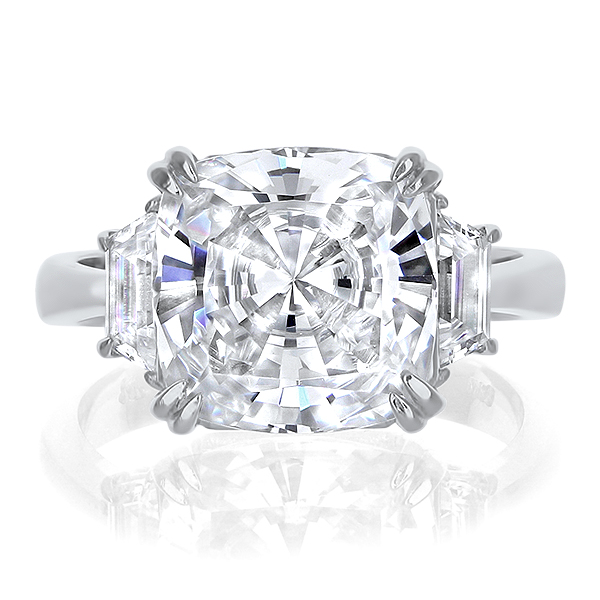 Marina Cushion with Trapezoids CZ Engagement Ring