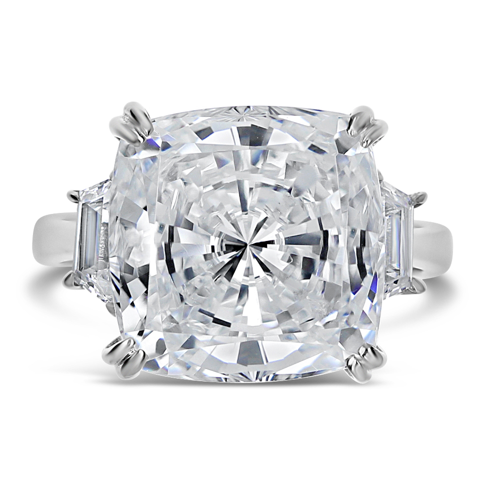 Marina Cushion with Trapezoids CZ Engagement Ring