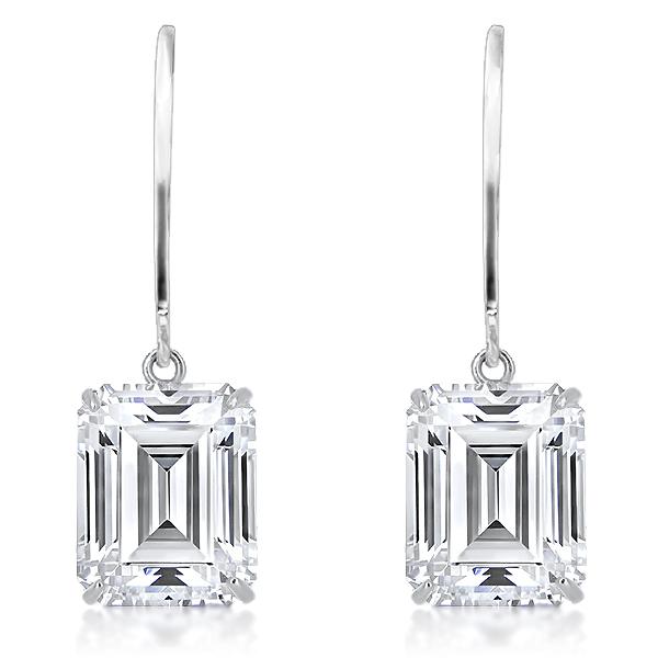 Eden Emerald Cut CZ Dangle Leverback / Eurowire Earrings