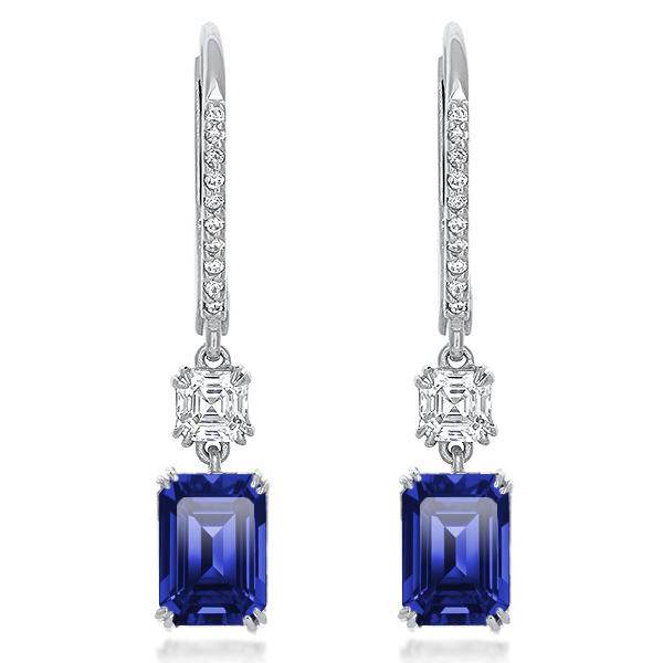 Antigua Asscher with Emerald Cut Pave Leverback Drop Earrings