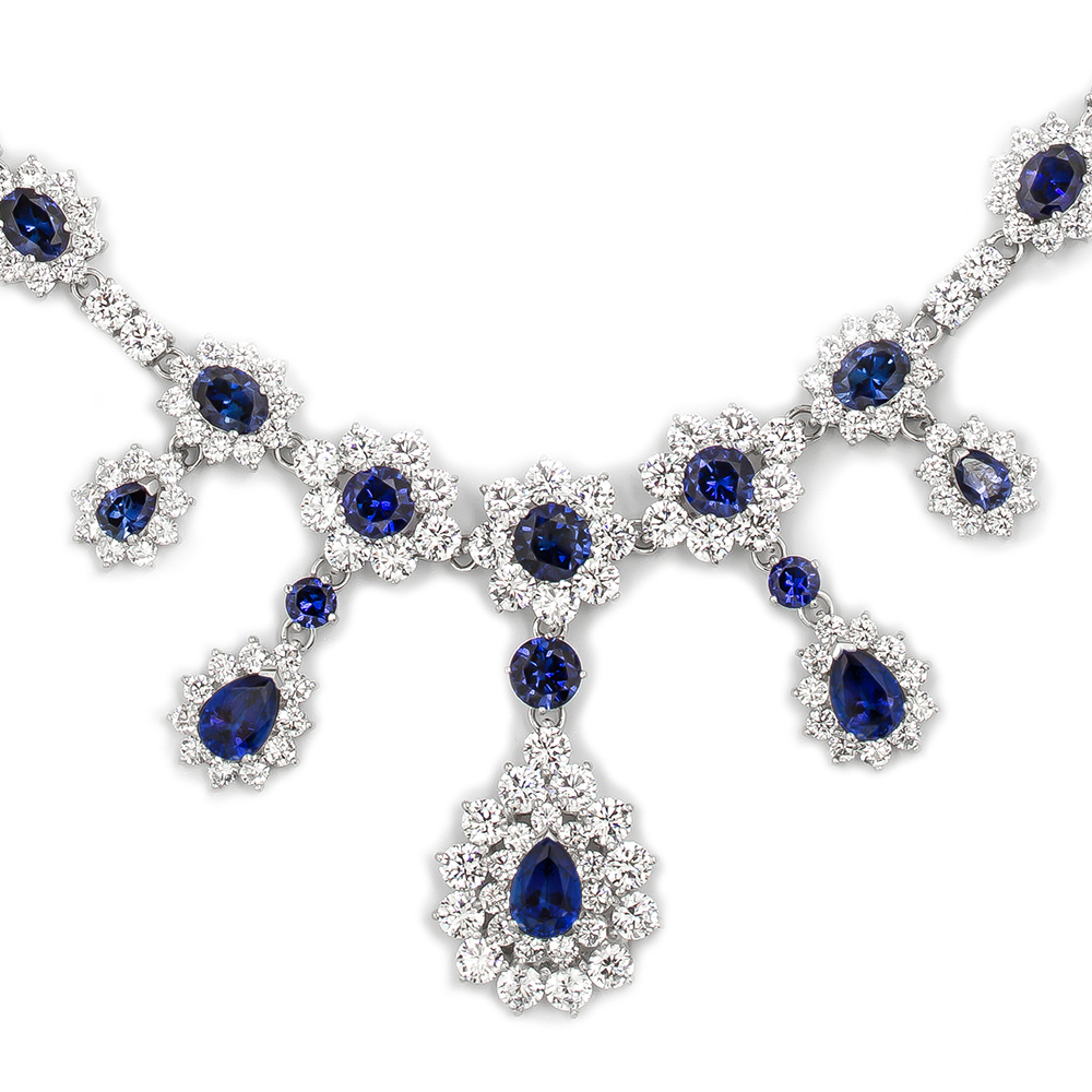 Empress CZ Pear, Oval & Rounds Formal Drop Necklace