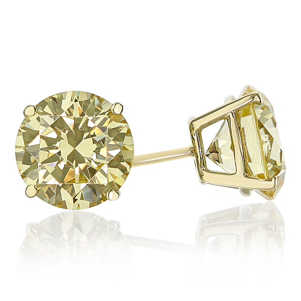 Round Canary Yellow Cubic Zirconia Stud Earrings