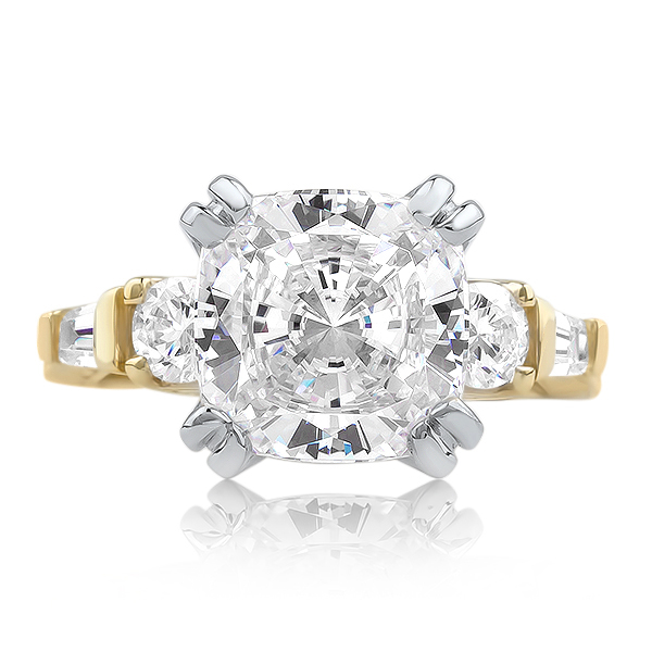 Felicity Cushion Cut with Rounds & Baguettes CZ Estate Solitaire Ring