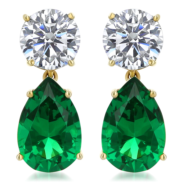 Arlene Round Top with Color Pear Drop Cubic Zirconia Earrings