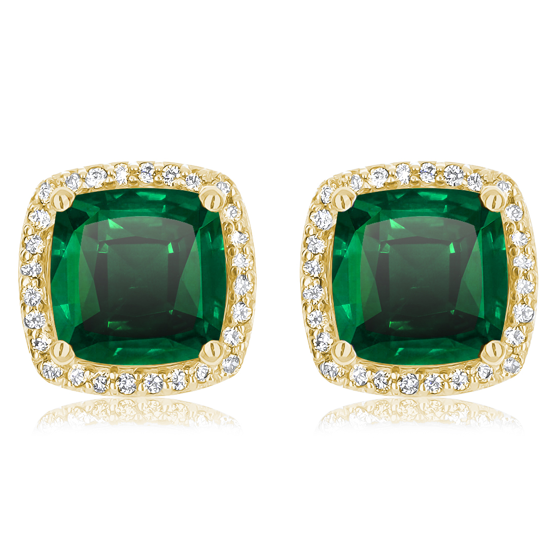 Christine Cushion Simulated Emerald Halo CZ Stud Earrings