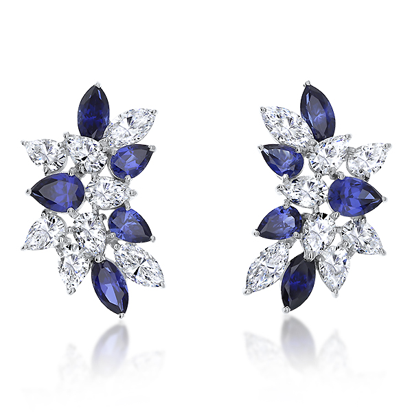 Cassandra Large Pear and Marquise CZ and Lab Sapphire Cluster Earrings