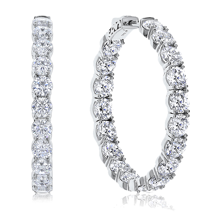 Martinique Vault Lock Front Facing CZ Oval Shaped Hoops, 19.0 Carats