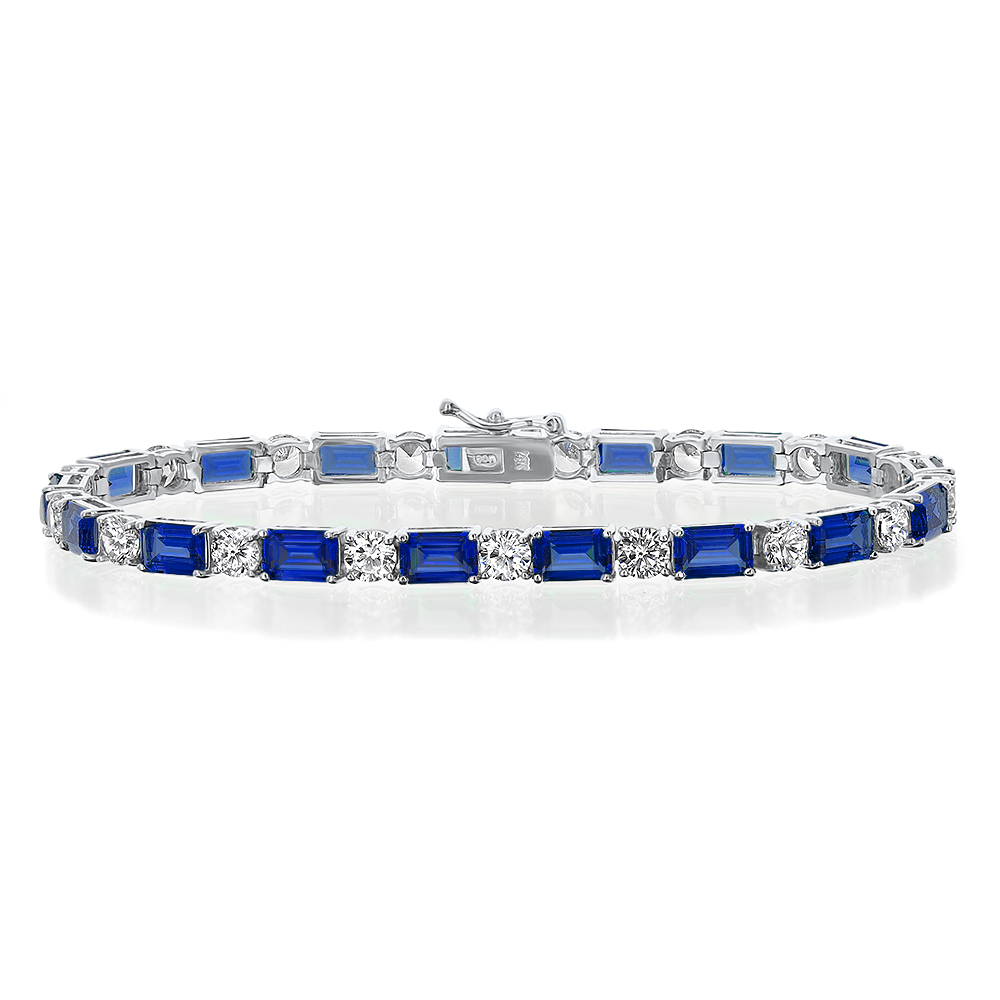 Evangeline Colors Emerald Cuts with Rounds CZ Bracelet