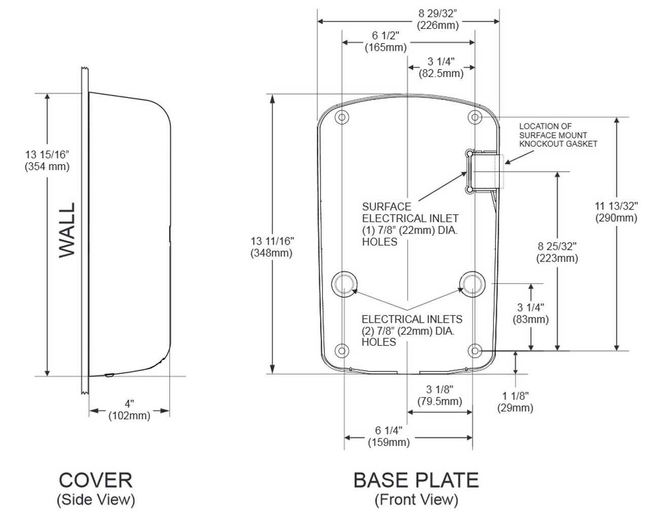 Thinair Ta Abs Hand Dryer Excel Air Schematic Dimensions Of The Thin