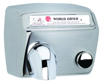 World Dryer Model DA5-973 Stainless Steel Brushed Push Button hand dryer