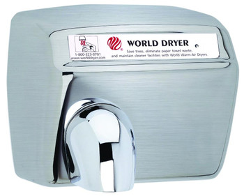 World Dryer Model DXA5-973 Automatic Brushed Stainless Steel hand dryer