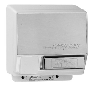 World Dryer Airspeed Aluminum Chrome Push Button commercial hand dryer