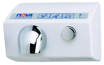 World Dryer Nova 5 0112 Aluminum White Push Button commercial hand dryer