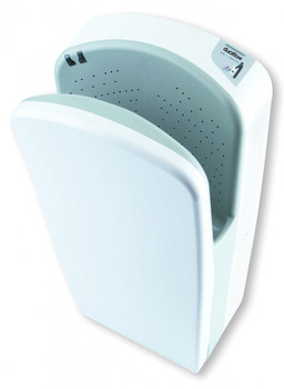 M08A Dualflow hand dryer with a White ABS cover from Saniflow Corp.