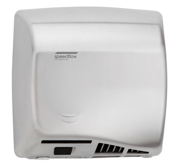 SPEEDFLOW Series M06ACS Automatic Stainless Steel Satin Hand Dryer from Saniflow - High Speed, ADA compliant, Universal Voltage, Surface Mounted Design