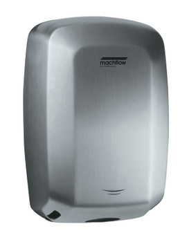 MACHFLOW Series M09ACS Automatic Stainless Steel Satin Hand Dryer from Saniflow - High Speed, Universal Voltage, Surface Mounted Design