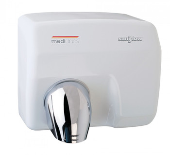 SANIFLOW Series E85A Automatic Cast Iron White Hand Dryer from Saniflow - 360° Revolving Nozzle, Surface Mounted Design