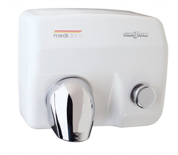 SANIFLOW Series E88 Push Button Steel White Hand Dryer from Saniflow - 360° Revolving Nozzle, Surface Mounted Design