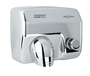 SANIFLOW Series E88C Push Button Steel Bright Chromed Hand Dryer from Saniflow - 360° Revolving Nozzle, Surface Mounted Design