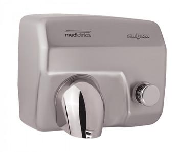 SANIFLOW Series E88CS Push Button Steel Satin Chromed Hand Dryer from Saniflow - 360° Revolving Nozzle, Surface Mounted Design