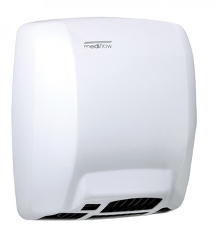 MEDIFLOW Series M02A Automatic Steel White Hand Dryer from Saniflow - Intelligent Logic Dry Warm Air Electric Dryer, Surface Mounted Design
