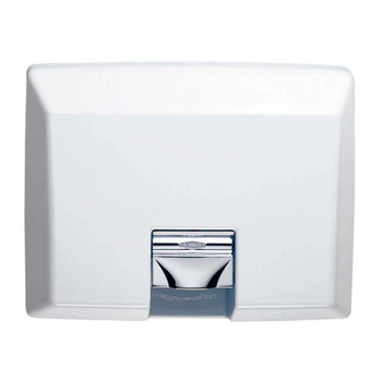 Bobrick AirCraft B-750 Recessed Hand Dryer has a white cast iron cover.