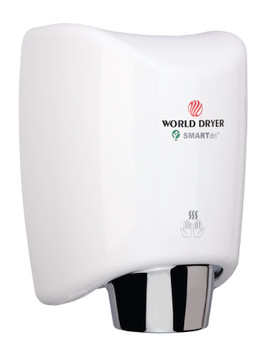 World Dryer K-974 SMARTdri Hand Air Dryer - Automatic White Aluminum Cover Surface Mounted hand dryer with multi-port nozzle