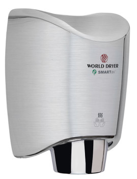 Single Port Nozzle World Dryer K-973P SMARTdri Plus High Efficiency Intelligent Automatic Hand Dryer with Stainless Steel Brushed Cover 110-120V
