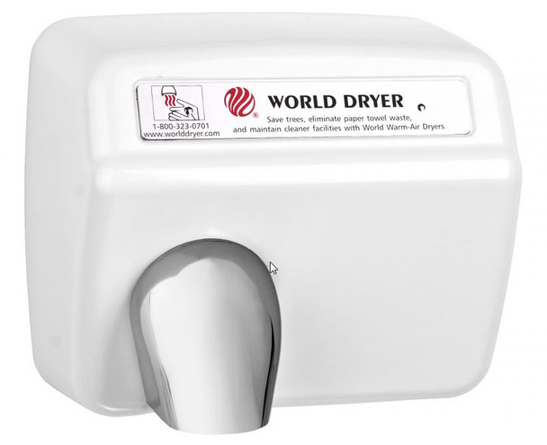 World Dryer Model DXA5-974 Steel White Automatic restroom hand dryer