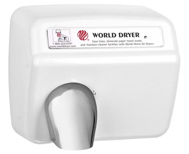 World Dryer Model DXA5-974 Steel White Automatic restroom hand dryer