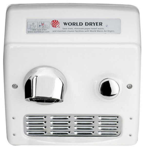 World Dryer Model RA5-Q974 Cast Iron White Push Button Recessed Mount ADA hand dryer