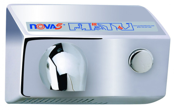 World Dryer Nova 5 011299 and 012299 Aluminum Brushed Chrome Push Button hand dryer