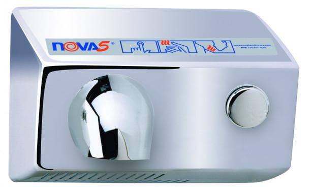 World Dryer Nova 5 011299 and 012299 Aluminum Brushed Chrome Push Button hand dryer