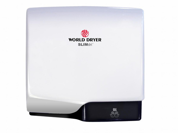 World Dryer SLIMdri L-974 Aluminum White Cover, Surface Mounted ADA Compliant Universal Voltage Hand Dryer