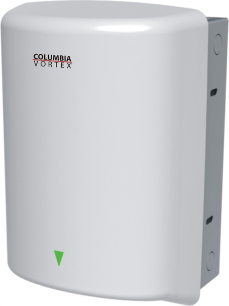 PSiSC Columbia Vortex HD-635-210 (110-120V) and HD-645-210 (220-240V) White Steel Automatic Recessed Mount Hand Dryer