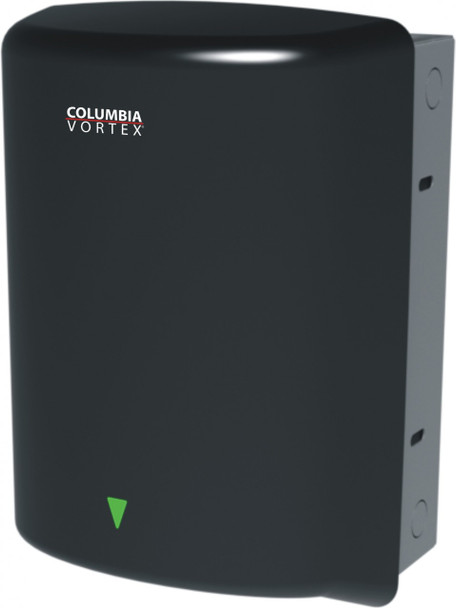 PSiSC Columbia Vortex HD-639-210 (110-120V) and HD-649-210 (220-240V) Black Steel Automatic Recessed Mount Hand Dryer