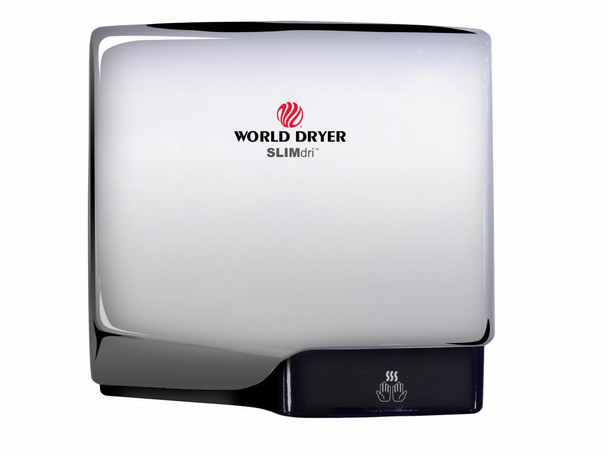World Dryer SLIMdri L-972 Polished Stainless Steel Cover, Surface Mounted ADA Compliant Universal Voltage Hand Dryer
