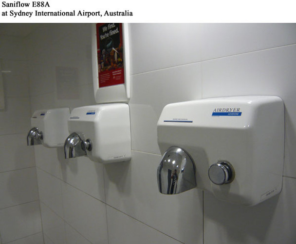 SANIFLOWS E88A hand dryers installed at Sydney International Airport
