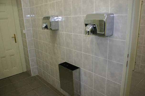 SANIFLOW E88AC hand dryers installed at a restaurant