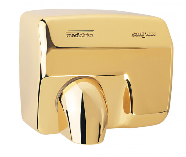 SANIFLOW Series E88AO Automatic Steel Golden Chromed Hand Dryer from Saniflow - 360° Revolving Nozzle, Surface Mounted Design