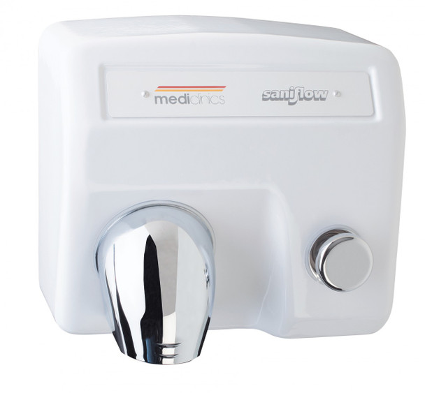 SANIFLOW Series E85 Push Button Cast Iron White Hand Dryer from Saniflow - 360° Revolving Nozzle, Surface Mounted Design