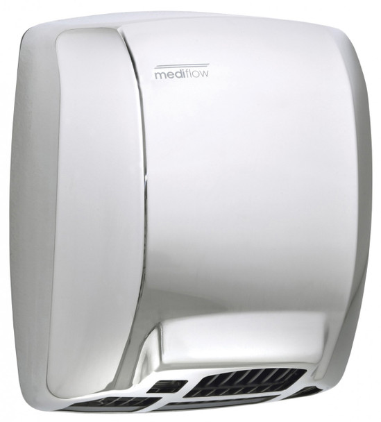MEDIFLOW Series M02AC Automatic Stainless Steel Bright Hand Dryer from Saniflow - Intelligent Logic Dry Warm Air Electric Dryer, Surface Mounted Design