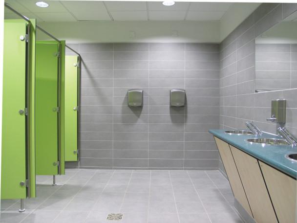 Saniflow OPTIMA M99ACS hand dryers installed in a school