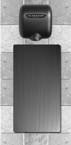XLERATOR Splash Guard installed under an XLERATOR XL-GR hand dryer