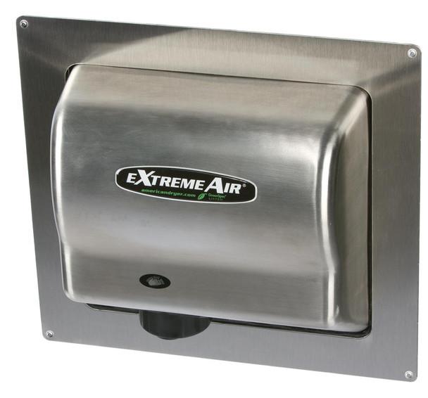 American Dryer Recess Kit - ADA-SS - Brushed Stainless Steel - for EXT, GXT, and Global GX restroom hand dryers. (shown with the EXT7-SSR)